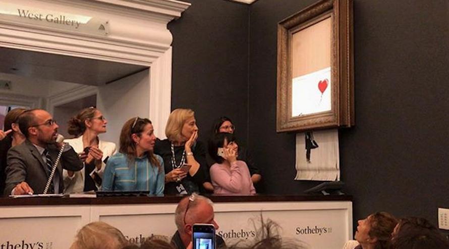 """¿Hay algo artístico en la destrucción por parte de Banksy de su obra """"Girl With Balloon"""", en la subasta de Sotheby's, una vez fue vendida?"""