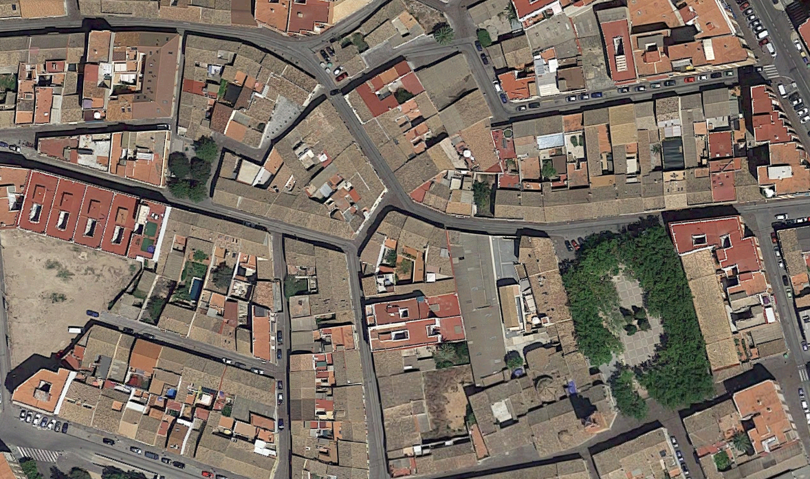 Vista aérea del nuecleo tradicional de Campanar. Foto: Google Maps.