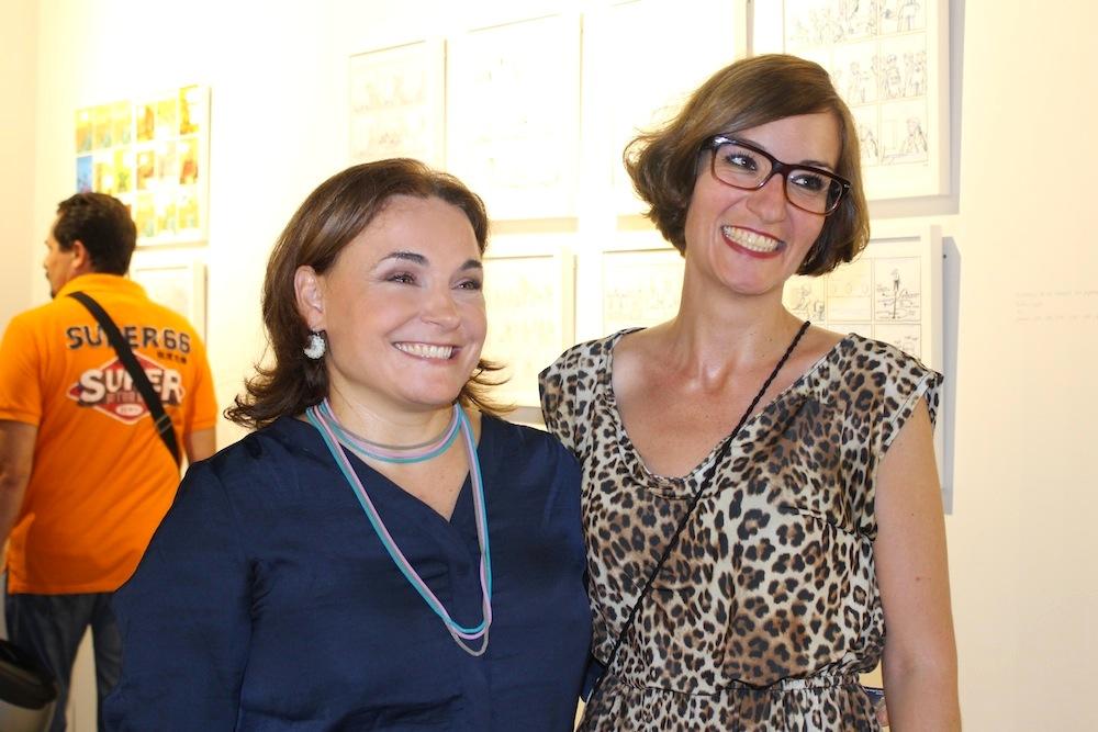 Las galeristas, Lucía Vilar y Cristina Chumillas, felices como unas perdices.