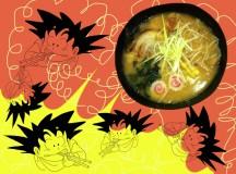 Son Goku obsesionado con el ramen de Ramen Kuma. Collage: Eva M. Rosúa.