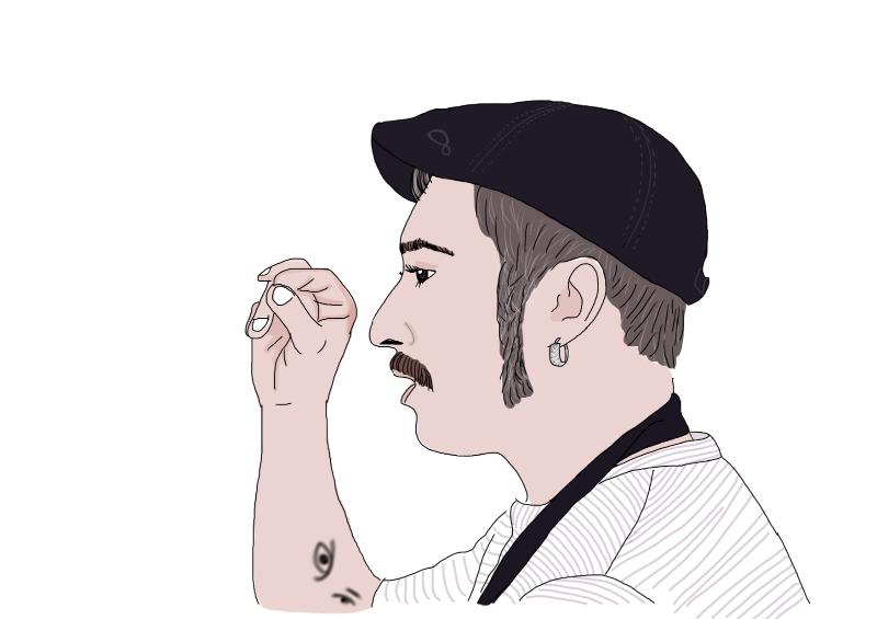 Raúl Jiménez ilustrado por Paladar a partir de una fotografía de Viernes Gastronómicos.